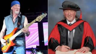 Roger Glover playing bass in 2014 and being made honorary fellow at University of South Wales