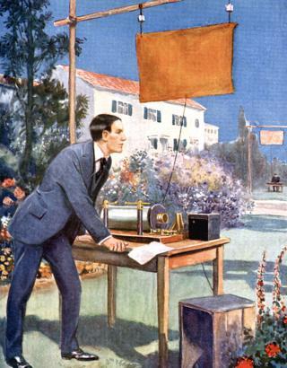 Ilustración de Marconi haciendo experimentos en el jardín