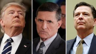 US President Donald Trump (L), former National Secuirty Advisor Michael Flynn (C) and former FBI Director James Comey (F).