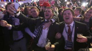 Сторонники Дональда Трампа празднуют его победу на Манхэттене