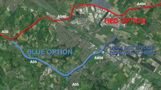 The road upgrade plans around Deeside