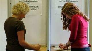 Two women voting in election