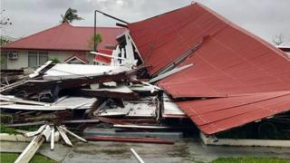 "A damaged building at the Parliament House in Tonga's capital of Nuku""alofa after Cyclone Gita hit the country."