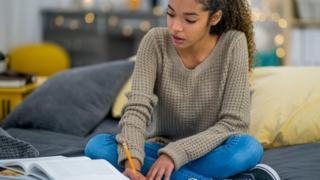 girl revising