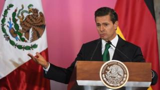 The Mexican President Enrique Peña Nieto speaking at the Palacio Nacional in Mexico City on June 9, 2017