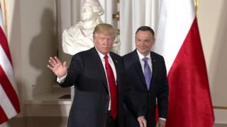 Donald Trump (left) with Andrzej Duda in Warsaw, 6 July