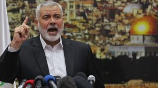 Ismail Haniya delivers a speech on Jerusalem in Gaza City on 7 December 2017