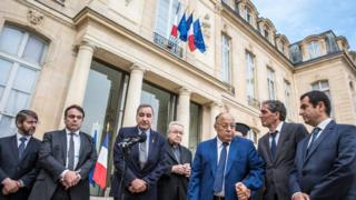 Representatives of France's religious groups speak to the media after meeting President Hollande at the Elysee Palace (27 July 2016)