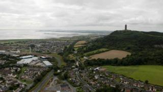 Scrabo Tower and Strangford Lough in the distance