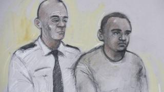 Court artist sketch of Zakaria Bulhan (right) appearing at Westminster Magistrates' Court in London