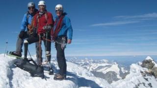 Jamie Andrew with guides Steve Jones and Steve Monks
