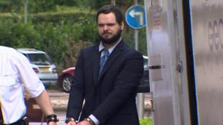 Enos arriving at Cardiff Crown Court