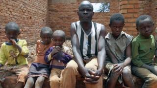 Raymond N'goma and his five children