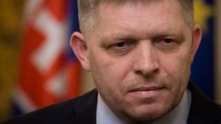 Slovak Prime Minister Robert Fico looks on during a press conference in Bratislava on March 14, 2018