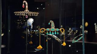 "Jewels on display at the ""Treasures of the Mughals and Maharajahs"" Exhibition at Venice's Doge""s Palace in Venice, Italy on 3 January 2018."