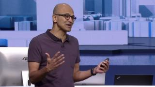"""Satya Nadella said Microsoft was hoping to """"infuse"""" technology with intelligence"""