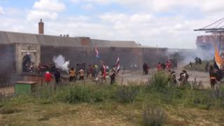 The first land battle of the Royal Marines was re-enacted at Landguard Fort in Suffolk.