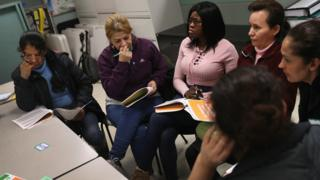 """Immigrants take part in a workshop called """"Me Preparo"""" at a community immigrant center on March 25, 2017 in Stamford, Connecticut."""