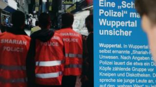 """Sharia police"" featured on a web page in Germany - Sep 2014 pic"