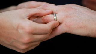 Same-sex marriage ceremony - wedding ring, file pic