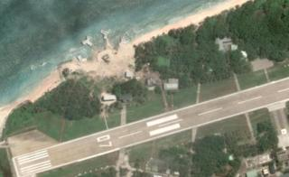 Satellite image of the new installations on the coast of Tailing, next to a runway