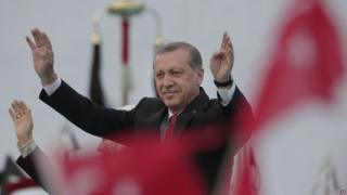 Turkey's President Recep Tayyip Erdogan waves to crowds during a rally to commemorate the anniversary of the city's conquest by the Ottoman Turks, Istanbul, Turkey, Saturday, 30 May 2015