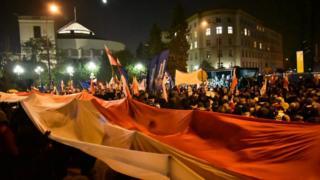 протестующие с флагом у Сейма