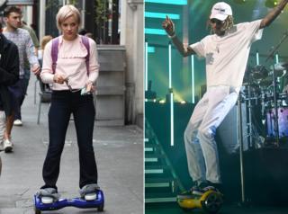 Lily Allen (l); Wiz Khalifa (r) on hoverboards