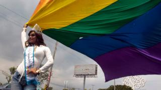 Xiomara Esquivel, Miss Gay Nicaragua 2017, takes part in a march organized by activist groups to celebrate International Day Against Homophobia in Managua, Nicaragua, 17 May 2017.