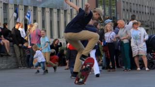 A skateboarder in Tallinn's Freedom Square