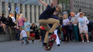A skateboarder in Tallinn's Freedom Square