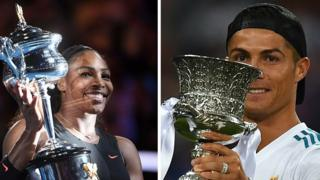Serena Williams and Cristiano Ronaldo holding trophies