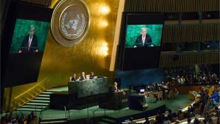 UN General Assembly, di Secretary General Antonio Antonio Guterres dey address world leaders