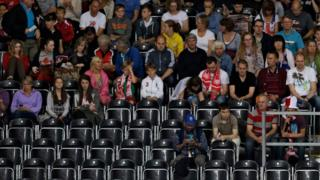 Spectators at an Olympic event at the London 2012 Games