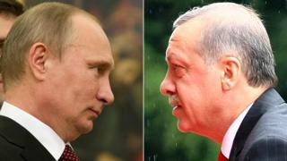 Rusya Devlet Başkanı Vladimir Putin (solda), Türkiye Cumhurbaşkanı Recep Tayyip Erdoğan (sağda)