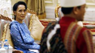 Aung San Suu Kyi attends the presidential handover ceremony in Naypyitaw, Myanmar