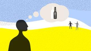 Рисунок: человек, думающий об алкоголе