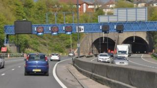 The M4 around Newport going into the Brynglas Tunnels