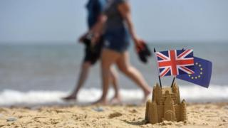 Sandcastle with UK and EU flags