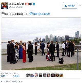 "Justin Trudeau's official photographer tweeted a picture of him jogging past students in full prom regalia, captioned: ""Prom season in #Vancouver"""