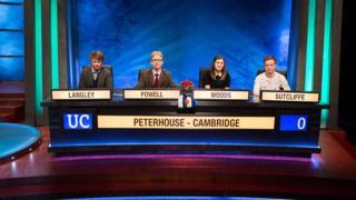 University Challenge winning team - Peterhouse, Cambridge - 2016