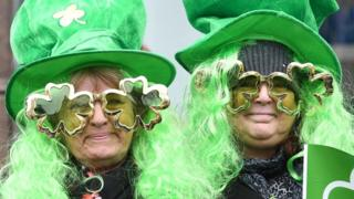 People dressed up for St. Patrick's Day