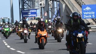 Bikers arriving in Northern Ireland