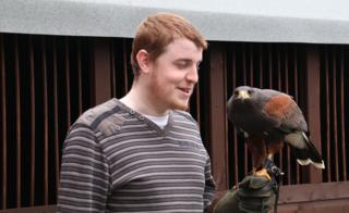 Mark Render with Ares the Harris Hawk
