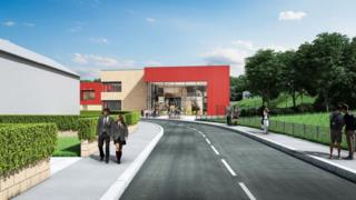 Artist's Impression – View along Heol Trelai to Post 16 Building