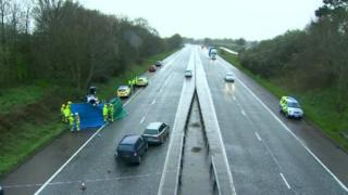 The scene of the three-vehicle collision between Moira, County Down, and Lurgan, County Armagh