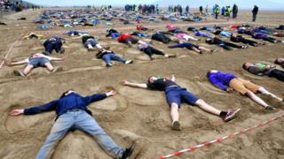 Sand angel record attempt Weston-super-Mare, Somerset