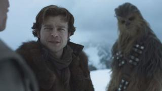 Alden Ehrenreich as Han Solo, with Chewbacca