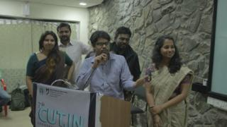 The group of students who made the film Caste on the Menu Card