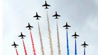 Red Arrows perform during Armed Forces day in Liverpool